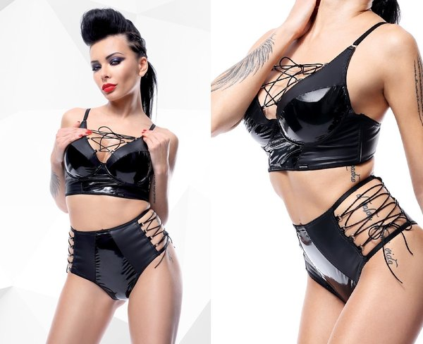 DEMONIQ WETLOOK LACK SET MIT SCHNÜRUNGEN : HOT PANTS + BUSTIER