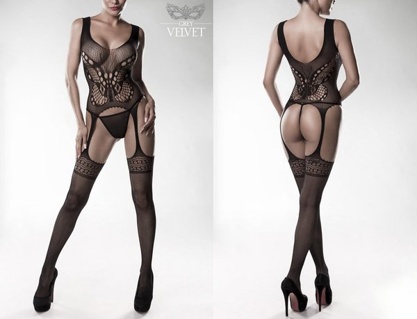 GREY VELVET NETZ BODYSTOCKING