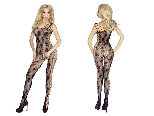 PROVOCATIVE NETZ OUVERT BODYSTOCKING BLUMENMUSTER